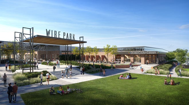 The new Oconee County Library will anchor one section of the Wire Park development in Watkinsville. Construction could begin this year.