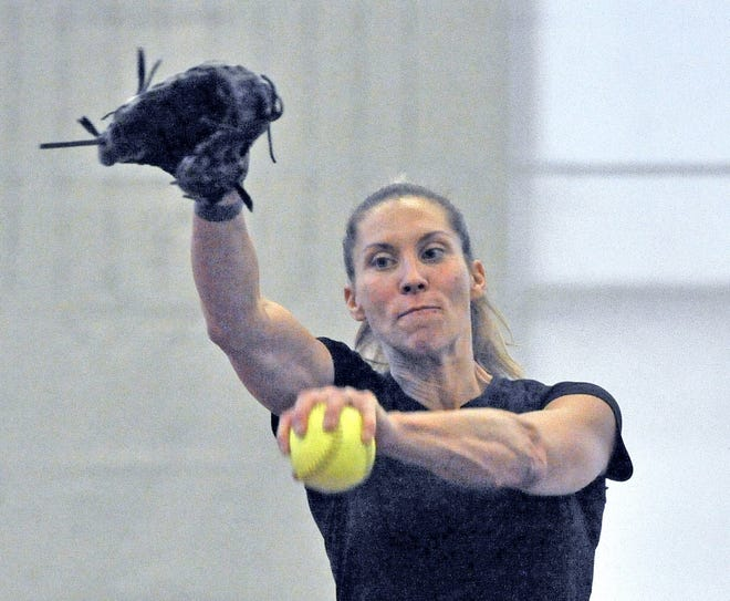 Lauren Bay Regula throws a softball at the College of Wooster while training for the 2020 Olympic Games. She will pitch for Canada in Tokyo in July. [MIke Schenk/The-Daily-Record.com]