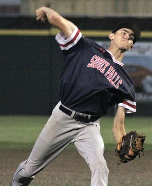 Camden Gadbois of Sioux Falls (S.D.) Post 15 West turned in one of the outstanding performances by an out-of-town player during Thursday's first day of the 62nd Annual Glen Winget Memorial Tournament in Bartlesville.