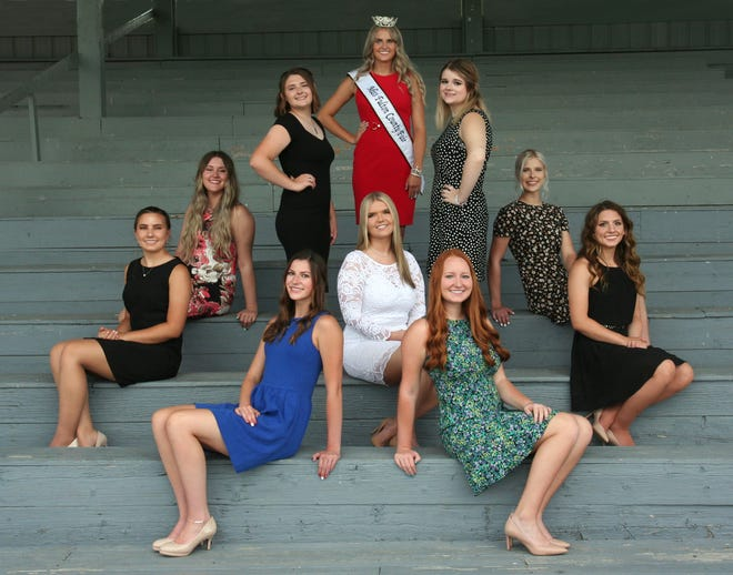 Fulton County Fair Queen candidates pictured front from the left: Grace Evans, Morgan Hayes, Elizabeth Rosich.  Back: Jenna Schleich, Hannah Barclay, Audrey Briggs, 2019 Queen Alex Chamberlin, Addison Savage, Katie Waughtel, Abigail Corsaw.