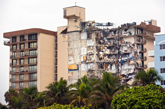 The partially collapsed Champlain Towers South condo is pictured in Surfside, Fla.