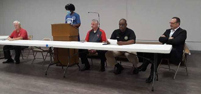 Thibodaux City Councilwoman Constance Johnson welcomes attendees to a residential meeting Wednesday at the St. Luke Community Center.