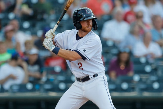 Ryan Dorow at the plate for Round Rock during a game against Oklahoma City at Dell Diamond in Round Rock, Texas on June 19.