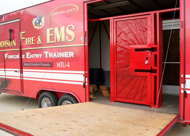 The Addison Fire Department's forcible entry training trailer is pictured Thursday. The fire department and Addison school district are teaming up to offer a firefighter class to high school students.