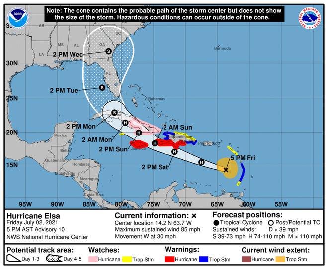 Hurricane Elsa's path as of 5 p.m. Friday.