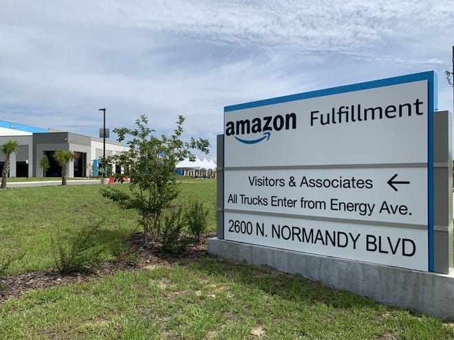 This sign along North Normandy Road points the way to the Amazon Fulfillment Center that opened in Deltona in September 2020. It can be seen here on Wednesday, June 23, 2021.