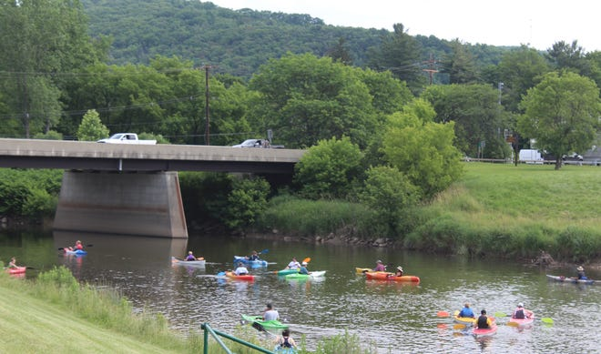 Kayakers hit the water for a Genesee River Wilds float last weekend.