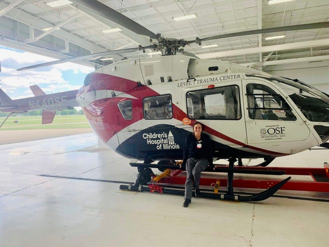 Marisa Miller, 26, of Galesburg, job-shadowed June 15 on an OSF Life Flight helicopter. The registered nurse was flown on a Life Flight helicopter three times as an infant.
