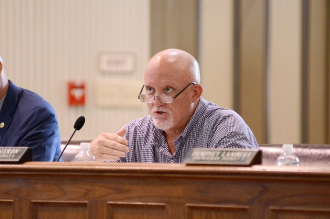 Ascension Parish Council member Corey Orgeron, shown during the July 1 meeting in Donaldsonville, is among the targets of recall efforts.