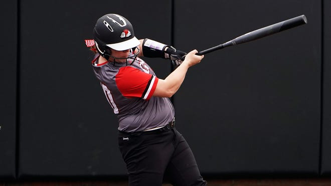 Former Polk County standout Autumn Owen gets a hit for Gardner-Webb in a game earlier this season.