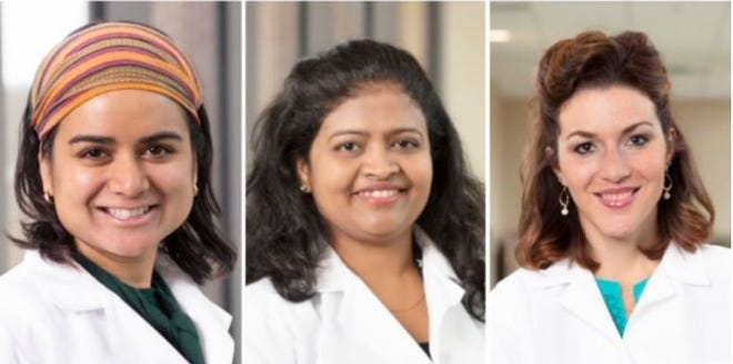 The Monrow Clinic recently honored five doctors of the Monroe Clinic Family Medicine Residency andEmergency Medicine Fellowship Class of 2021. Pictured, from left:Dr.NikitashaAggarwal, Dr. Bhuvaneswari Durairajand Dr. Joy Ryland.