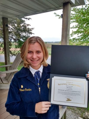 West Carroll FFA member Olivia Charles recently received the DeKalb Agricultural Achievement Award.