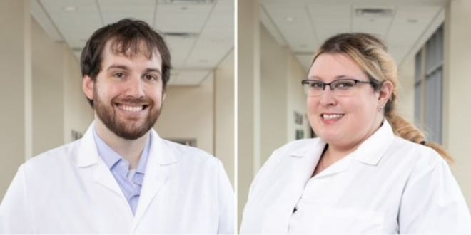 The Monrow Clinic recently honored five doctors of the Monroe Clinic Family Medicine Residency and Emergency Medicine Fellowship Class of 2021. Pictured, from left:Dr. Justin Harrington and Dr. Jennifer Reink.