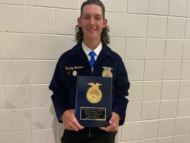 Bradley Sommers was the recipient of the Outstanding Senior FFA Student Award given in memory of Matthew Rexrode. The female recipient was Sarah Sions.