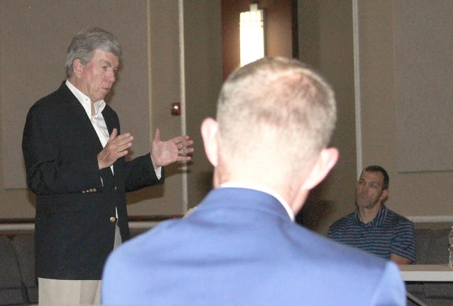 U.S. Senator Roy Blunt (R-MO) visited with 24 invited Moberly community leaders Wednesday, June 30 at the historic 4th St. Theatre to listen to local issues of importance, and he shared legislative happenings at the federal level.