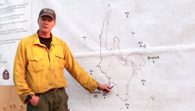 California Team 14 Night Operations Section Chief Pat Bell gives an update on the Lava Fire on the morning of July 2, 2021.