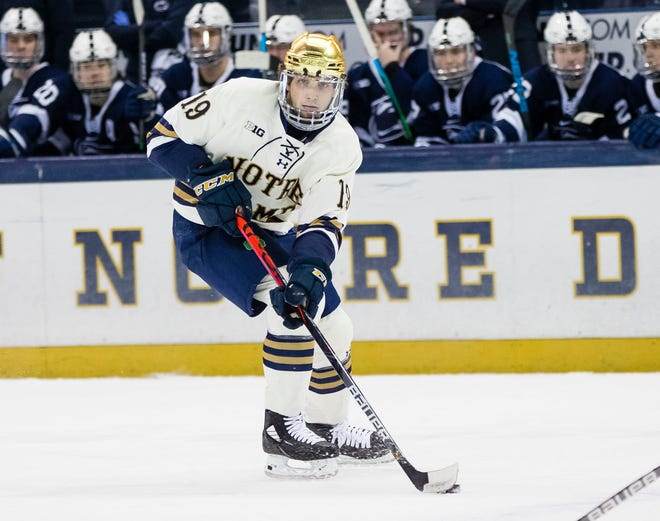 Notre Dame's Landon Slaggert (19) works down the ice during the Notre Dame vs. Penn State Big Ten Hockey Tournament last season. The Irish are 1-0 heading into road games this weekend against Michigan Tech and Northern Michigan.