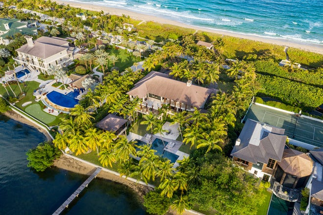 An ocean-to-lake estate with a private dock and a beach house has sold for $29.14 million at 1780 S. Oocean Blvd. in Manalapan, according to a sales listing updated Wednesday in the multiple listing service.
