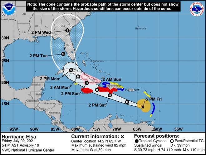 The 5 p.m. Friday track of Hurricane Elsa brings it over Cuba on Sunday and Monday and off the west coast of Florida.