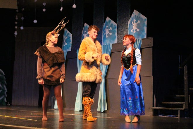 Sven (Sydney Riley), Kristoff (Kaden Barker) and Anna (Tess Clarkson) form a plan to reach Elsa in her frozen relm, part of the PCC Summer Music Theatre Camp's production last week of Disney's Frozen Jr.