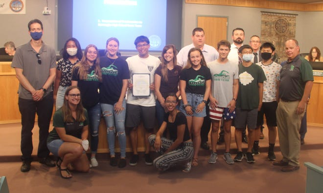The BHS swim team poses for a group photo at the Ridgecrest City Council meeting June 16, 2021. The team was honored by the city for winning their league -- despite having no pool in which to practice.