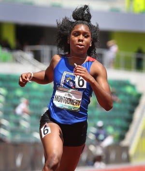 Jasmine Montgomery wins the girls 100 meters at the National Scholastic Athletics Foundation's The Outdoor Nationals at Hayward Field on Friday.