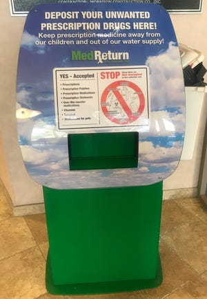 Dispose of unwanted prescription drugs in this drop box located in the lobby of the Shelby Police Department.
