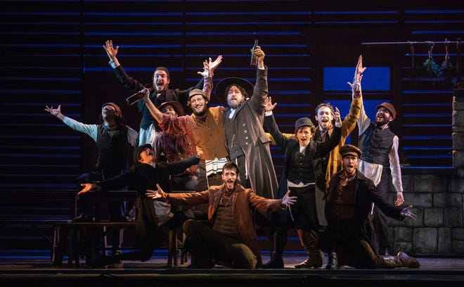 """Yehezkel Lazarov, Jonathan Von Mering and the cast of """"The Fiddler on the Roof."""""""