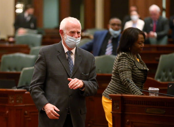 Steve Brown, the former spokesman for Michael Madigan, on the floor of the Illinois House of Representatives on the last day of session at the Illinois State Capitol in Springfield, Ill., Monday, May 31, 2021. [Justin L. Fowler/The State Journal-Register]