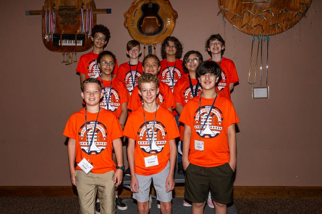 Among those attending the Middle School Band Camp were: (front from left): Jonas Branch, Dale; Easton Howe, Dale; and Jaxson Wood, Bethel. (Second row from left): Patience Stell, Bethel; Stohri Rhynalds, Bethel; and Zoe Little, Bethel. (Back row from left): Quentin Wilson, Dale; Nicholas Tucker, Bethel; Piper Mullendore, Bethel; and Ezra Purin, Bethel.