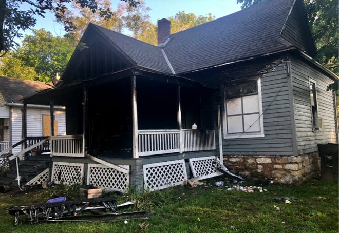 A fire late Thursday destroyed this house at 216 N.W. Laurent in Topeka.