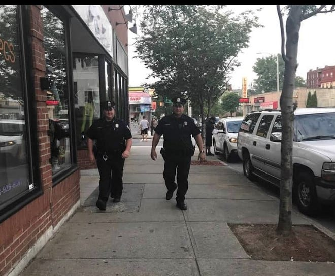Officers on the walking beat at Main and King streets in Worcester.