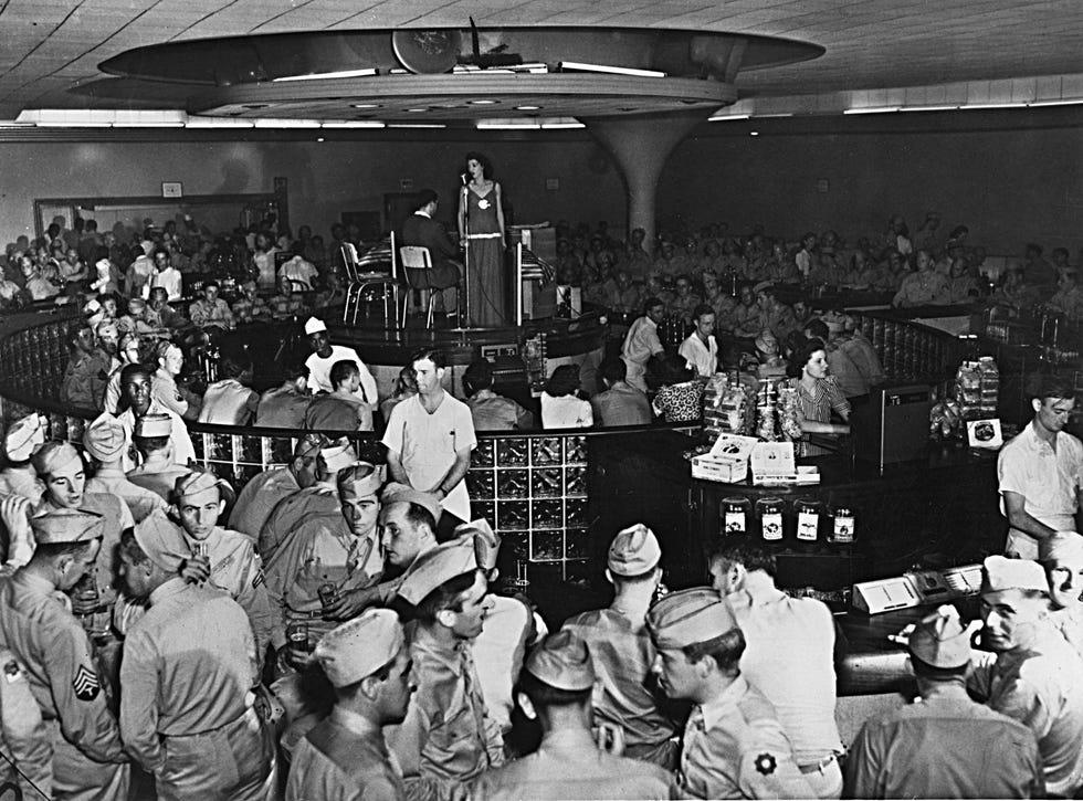 Soldiers inside the Town Pump, Fayetteville's largest WW II era lounge.
