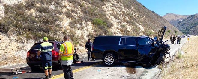Accident scene on Highway 166 near Tepusquet Road
