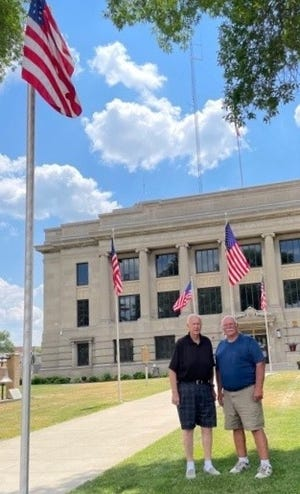 Dale Christensen and Randy Rakness are the last two members of the local Sons of Veterans group.
