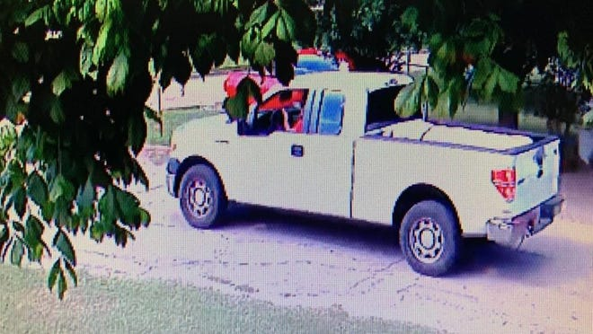 A surveillance photo shows the Ford F-150 pickup truck that was allegedly used in the abduction of a 7-month-old infant in Ennis on Thursday.