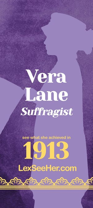 """In 1913, Vera Lane traveled from Lexington to participate in the Woman Suffrage Procession in Washington, D.C., bearing the """"Something Must Be Done"""" banner."""