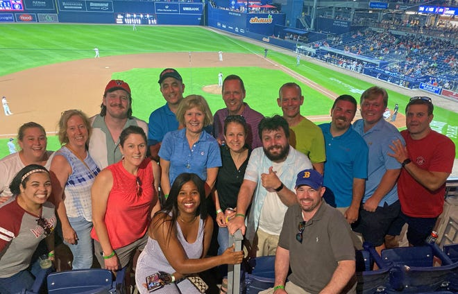 The UMass Memorial-Marlborough Hospital wanted to thank the caregivers who have worked tirelessly at the vaccine clinic and also at the Stop the Spread testing team. Marlborough Hospital hosted them in the luxury UMass Memorial Health box at a WooSox game.