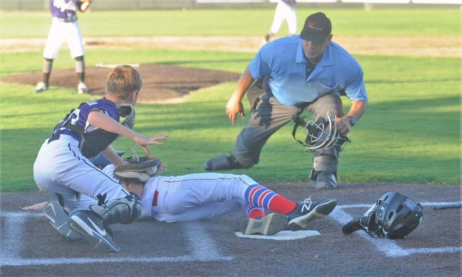 Wylie catcher Ryder Harrison tags out Fort Worth University's Sam Danzi for the third out in the bottom of the sixth to preserve a 6-6 tie. Danzi was trying to score on Charlie Boulware's RBI single that tied the game. Wylie won the game 8-6 in the opening round of the Texas West Little League Section 2 tournament for ages 9-11 at Dixie Little League.