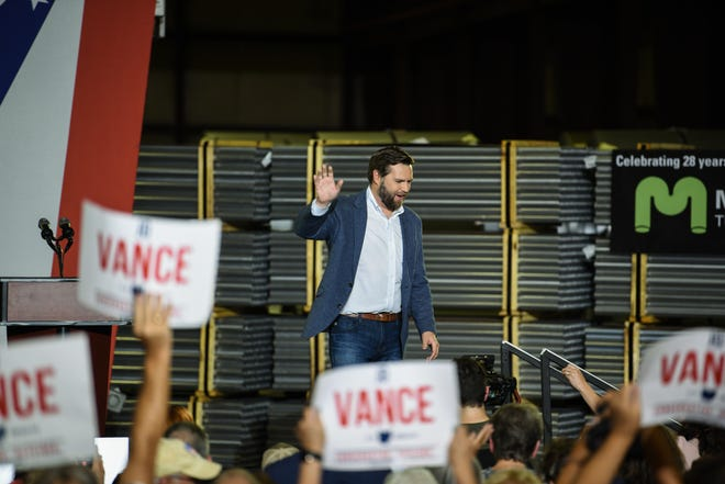 """Author of """"Hillbilly Elegy, J.D. Vance announces his Senate bid at Middletown Tube Works in his hometown on July 1, 2021."""