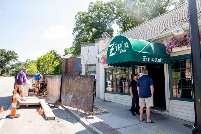 A view of Zip's Cafe in Mt. Lookout on Friday, July 2, 2021. The restaurant is closed do to flooding from the previous evening. Burke said he hoped they would reopen this upcoming Wednesday but said repairs had to be made first. A view of Zip's Cafe