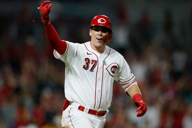 Reds catcher Tyler Stephenson (37) celebrates his game-winning single in the ninth inning against the San Diego Padres at Great American Ball Park on Thursday, July 1, 2021.