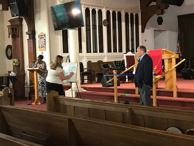 Rod Goldhahn, chair of the Green Bay Police and Fire Commission, led the first of six listening sessions in the search for the next city police chief on Thursday at Divine Temple Church of God in downtown Green Bay.