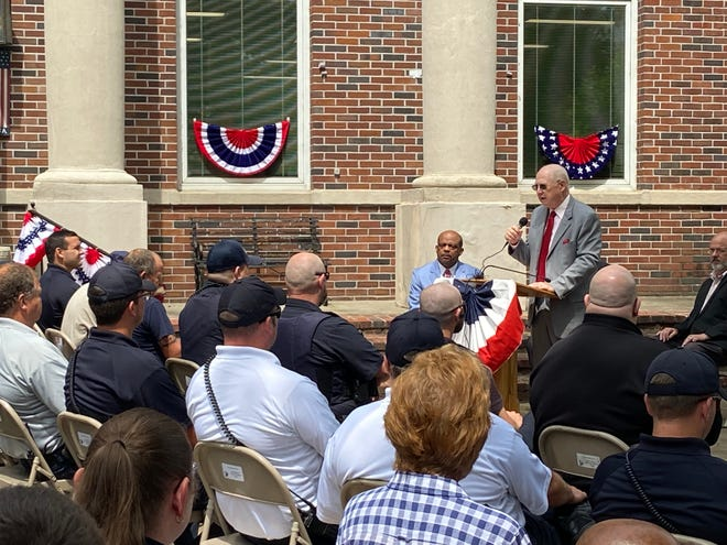 Haywood County Mayor David Livingston speaks to a crowd of about 200 in front of the Haywood County Courthouse on Friday, July 2, 2021.