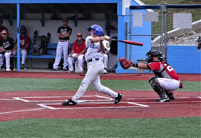 Post 11 leadoff hitter David Hurst hits the ball against Utica Post 92 during Thursday's Lancaster Post 11 Baseball Classic at Beavers Field. The game was eventually canceled because of the rain. The eight-team tournament will be held all weekend.