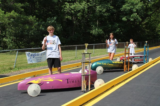 The 65th running of the Lancaster Soap Box Derby was held at Derby Downs on June 26. Winners were from front to back: Masters Champion: Caden Bapst; Super Stock Champion: Natalee Andrews and Stock Champion: Gavin Hillis.