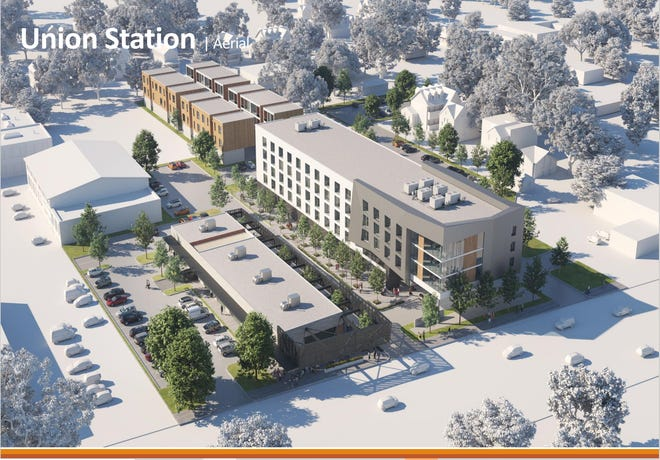 An aerial view of the proposed Union Station development at the site of the former Union Avenue police station.