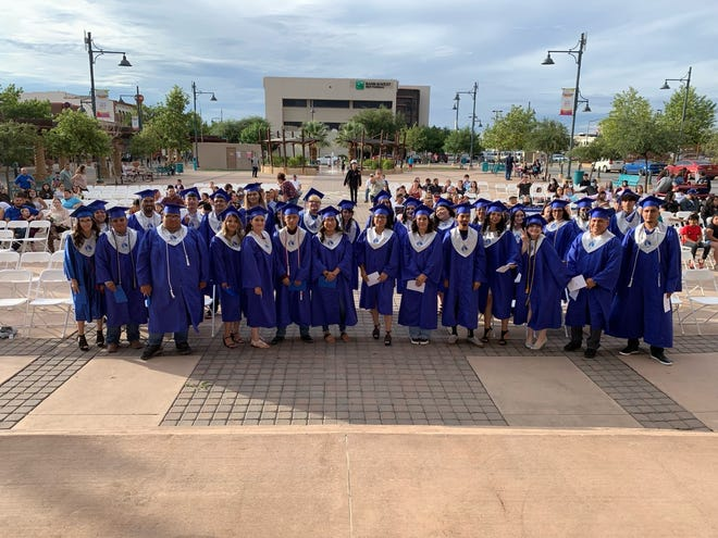 The New America School graduating class of 33 students received their diplomas from the charter high school at Plaza de Las Cruces on July 1, 2021.
