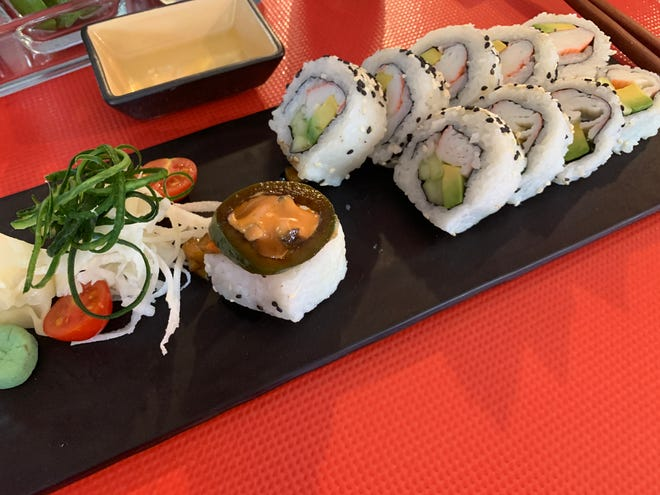 A California sushi roll topped with Sonoran flavors at Sushi Sun restaurant in Puerto Peñasco, Sonora.