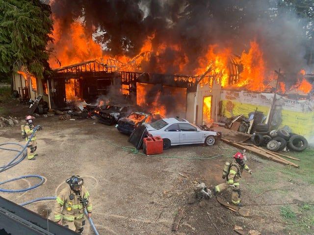 Crews battled a 2-alarm fire at a home east of Salem Thursday morning.